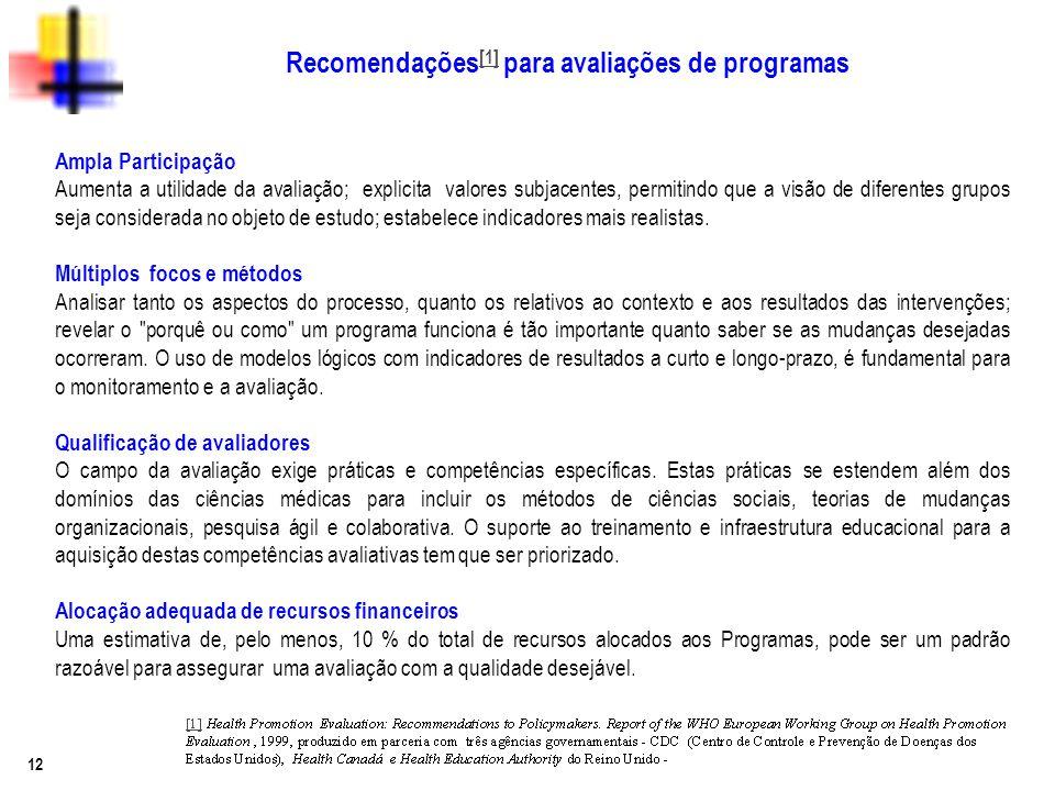 Recomendações[1] para avaliações de programas